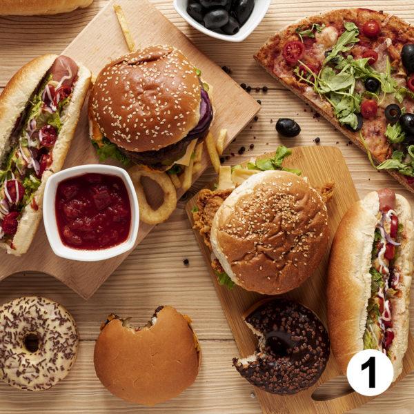 Maquette d'autocollants produits fast food