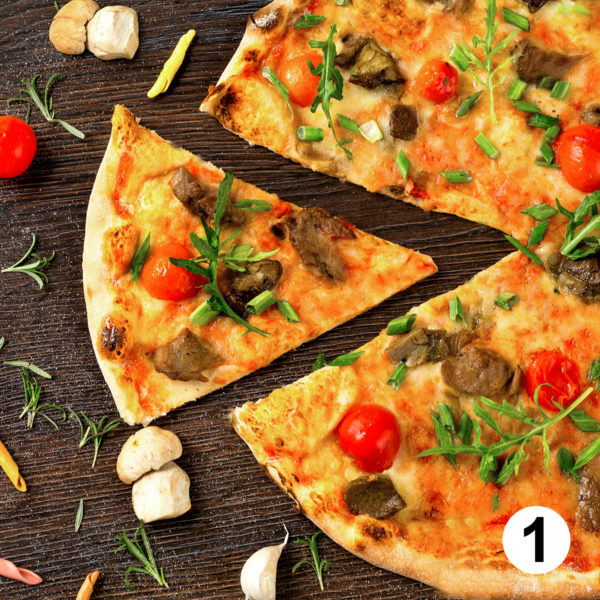 Maquette d'autocollants produits pizza
